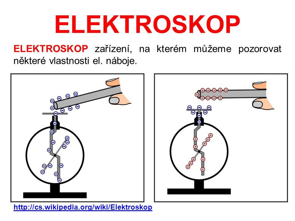 ELEKTROSKOP ELEKTROSKOP zařízení, na kterém můžeme pozorovat některé vlastnosti el. náboje. http://cs.wikipedia.org/wiki/Elektroskop.