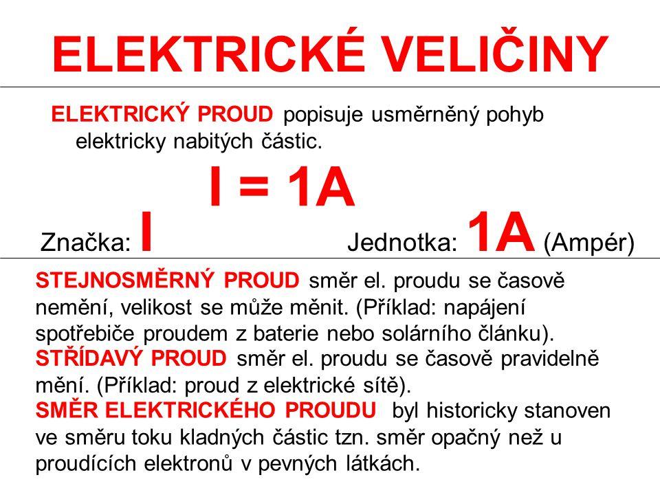 I = 1A ELEKTRICKÉ VELIČINY Značka: I Jednotka: 1A (Ampér)