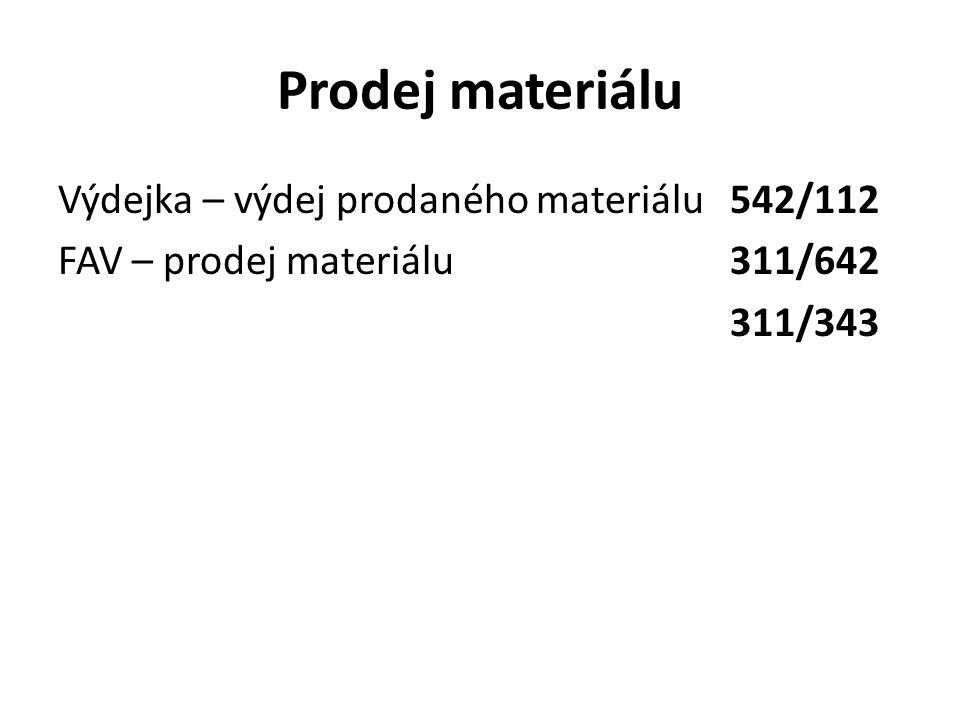 Prodej materiálu Výdejka – výdej prodaného materiálu 542/112 FAV – prodej materiálu 311/642 311/343