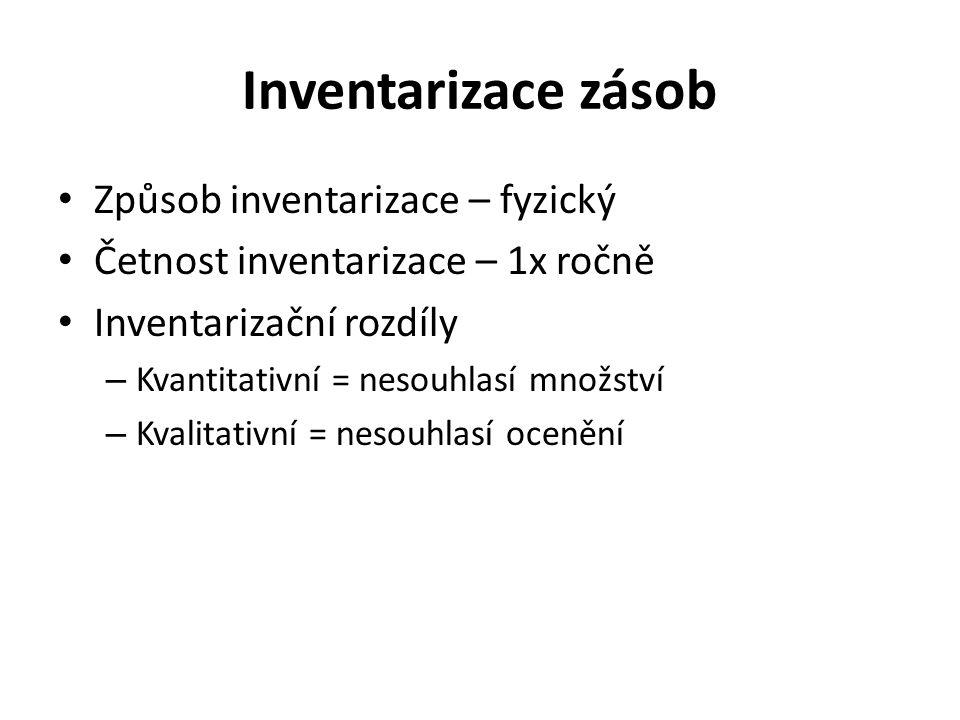 Inventarizace zásob Způsob inventarizace – fyzický