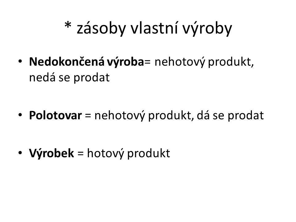 * zásoby vlastní výroby