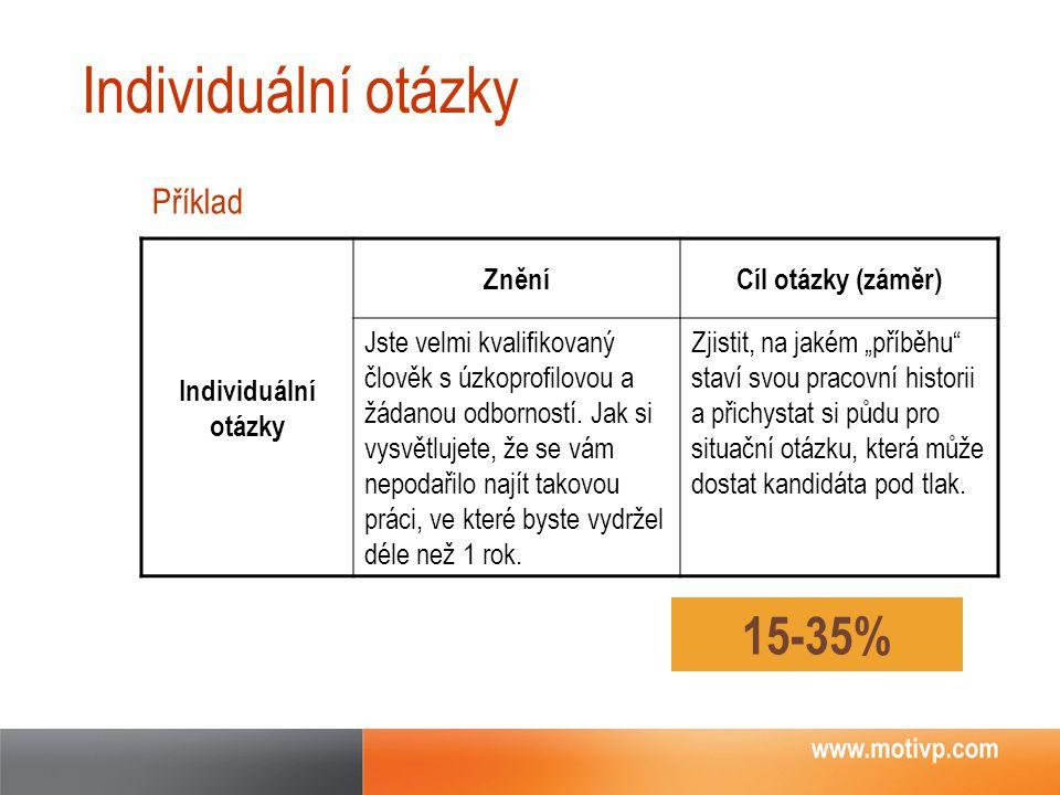 Individuální otázky 15-35% Příklad Individuální otázky Znění