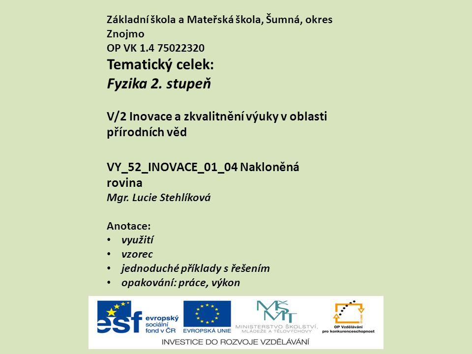 VY_52_INOVACE_01_04 Nakloněná rovina Mgr. Lucie Stehlíková Anotace: