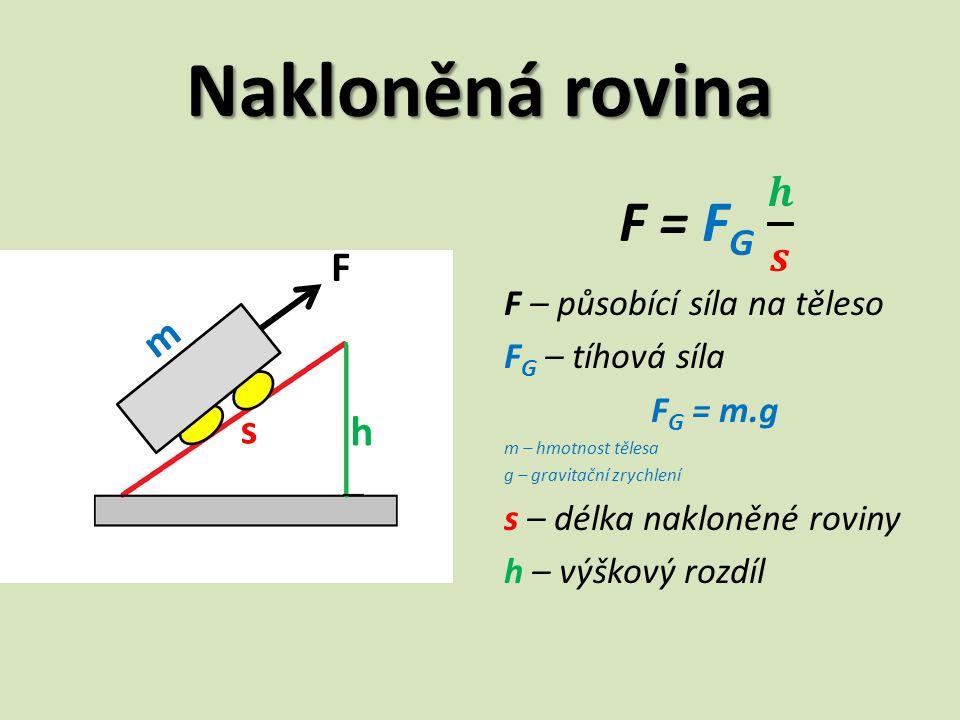Nakloněná rovina F = FG 𝒉 𝒔 F m s h F – působící síla na těleso