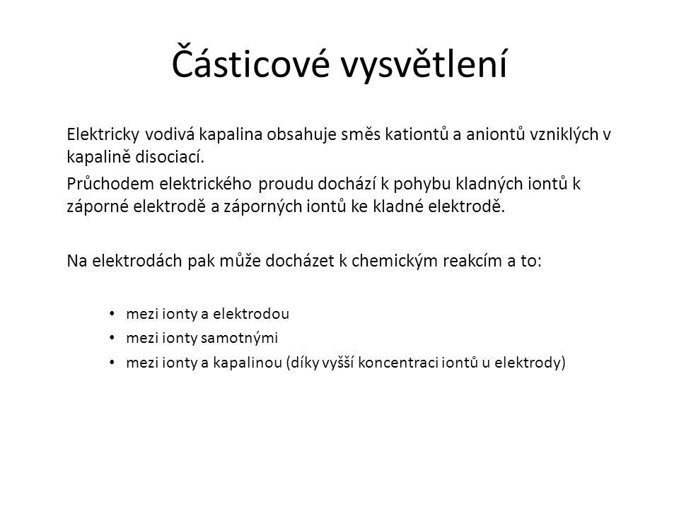 Částicové vysvětlení Elektricky vodivá kapalina obsahuje směs kationtů a aniontů vzniklých v kapalině disociací.