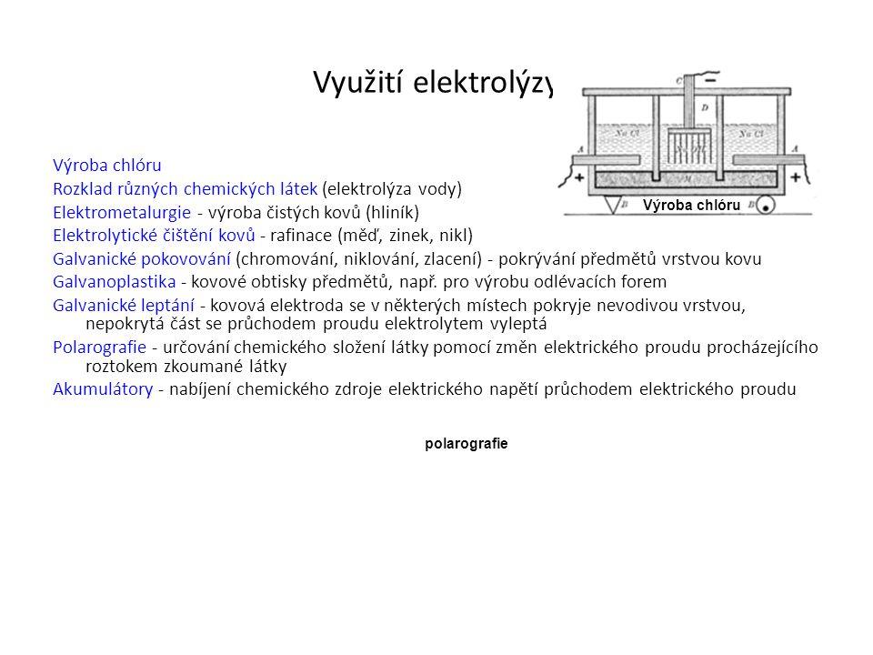 Využití elektrolýzy Výroba chlóru