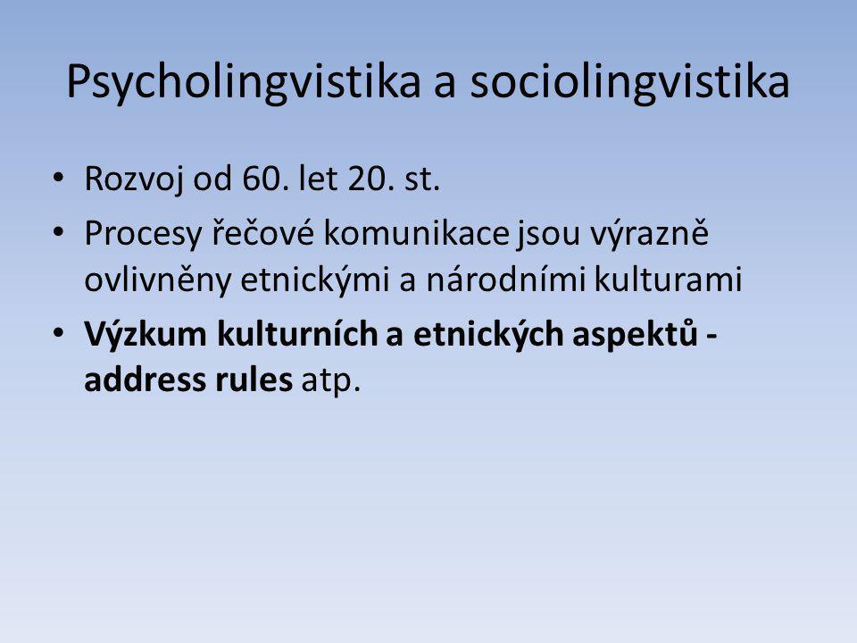 Psycholingvistika a sociolingvistika