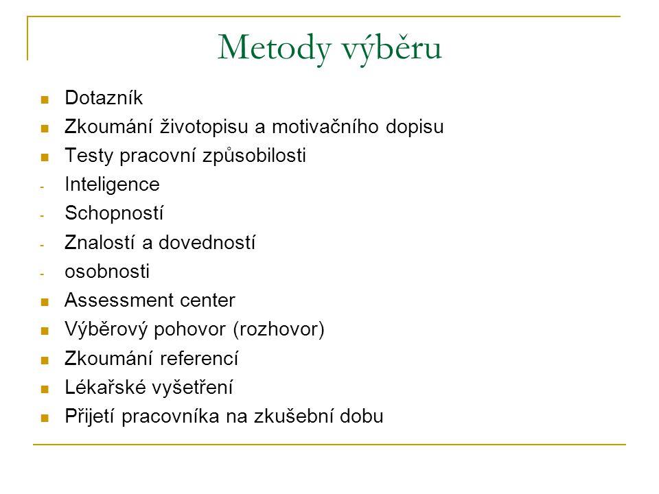 Metody výběru Dotazník Zkoumání životopisu a motivačního dopisu