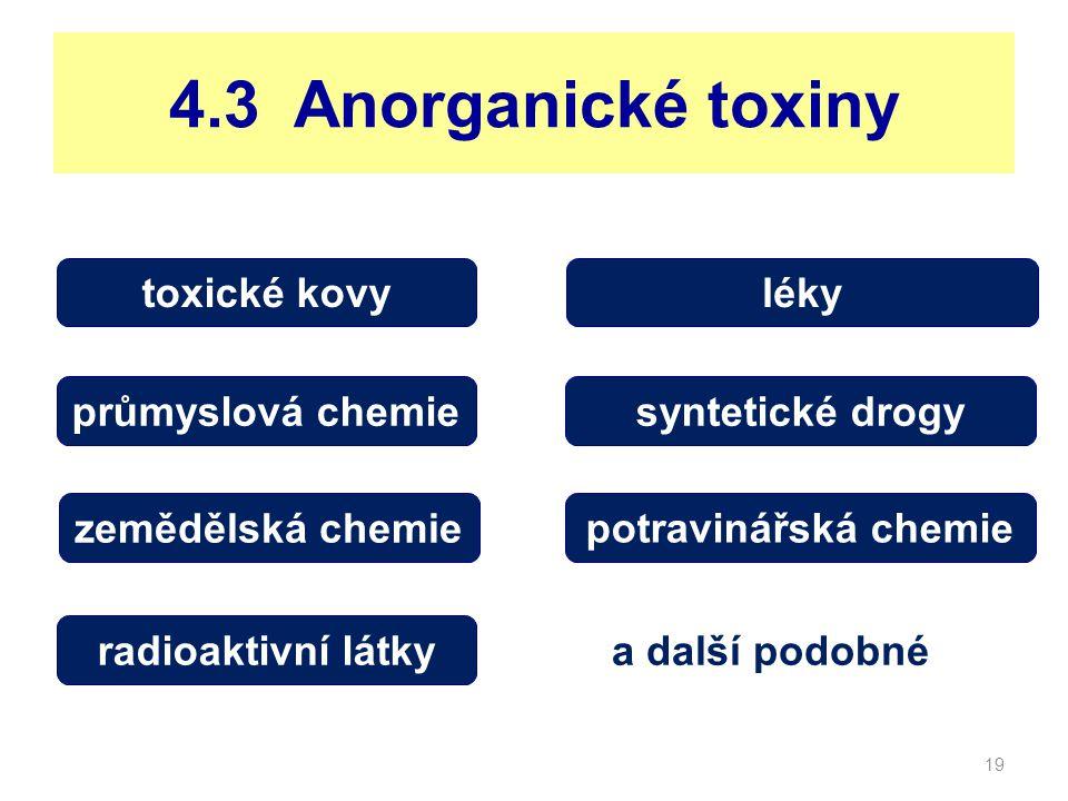 4.3 Anorganické toxiny toxické kovy léky průmyslová chemie