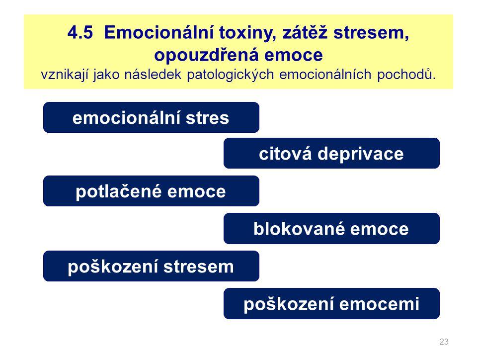 4.5 Emocionální toxiny, zátěž stresem, opouzdřená emoce vznikají jako následek patologických emocionálních pochodů.