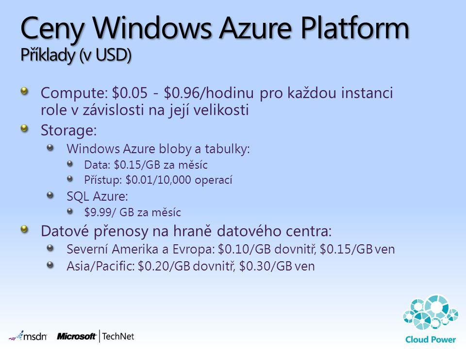 Ceny Windows Azure Platform Příklady (v USD)
