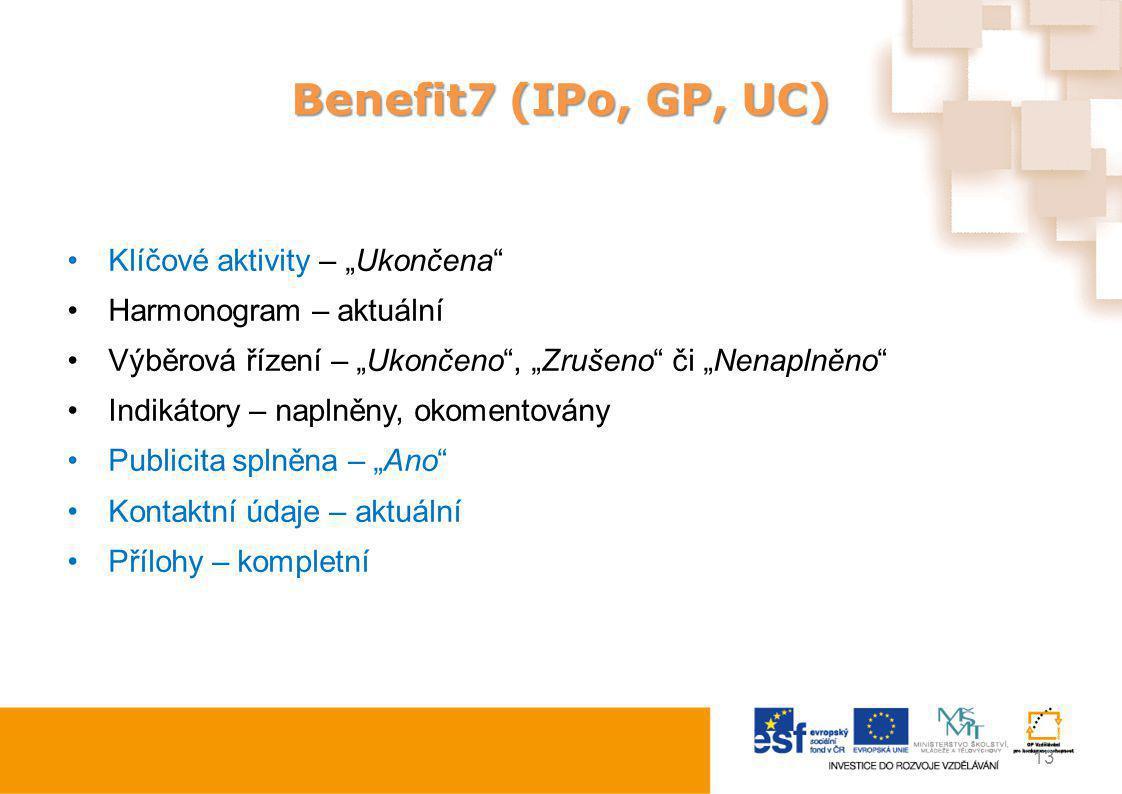 "Benefit7 (IPo, GP, UC) Klíčové aktivity – ""Ukončena"