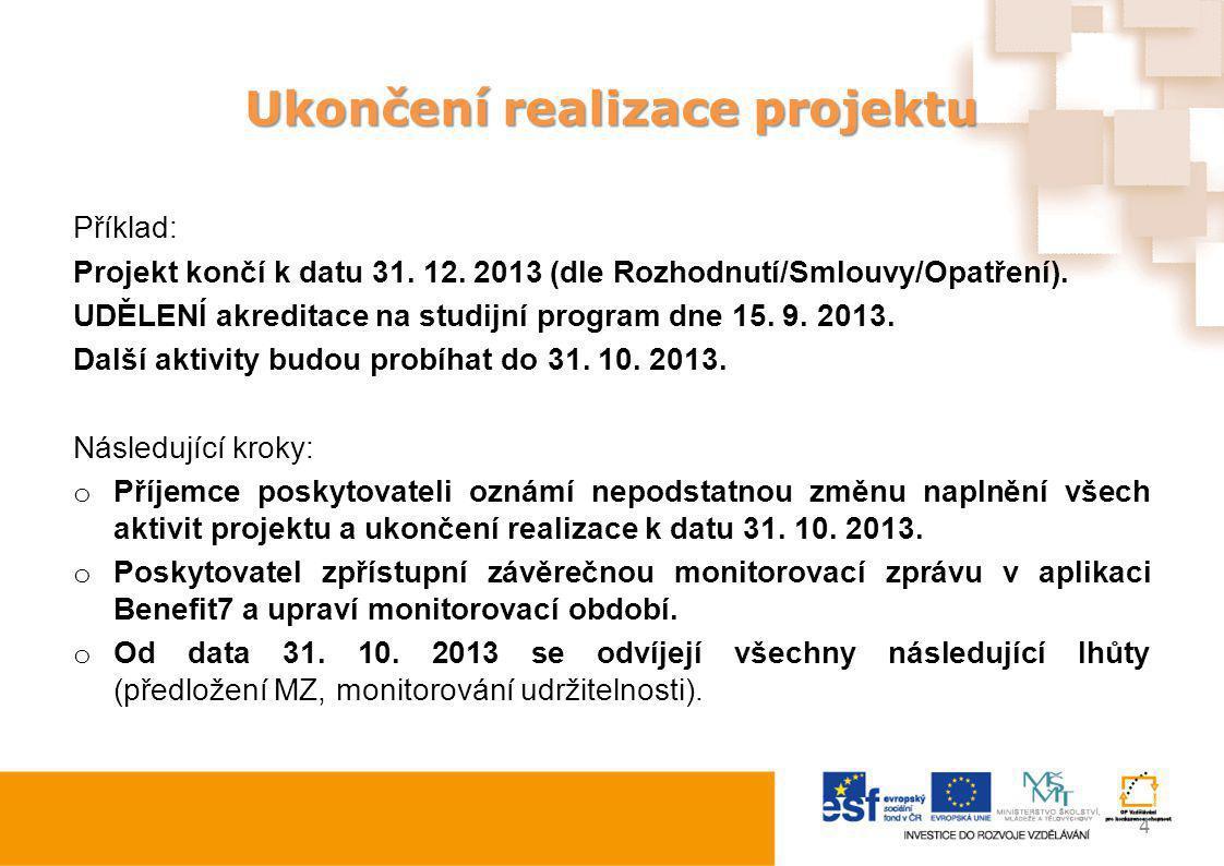 Ukončení realizace projektu