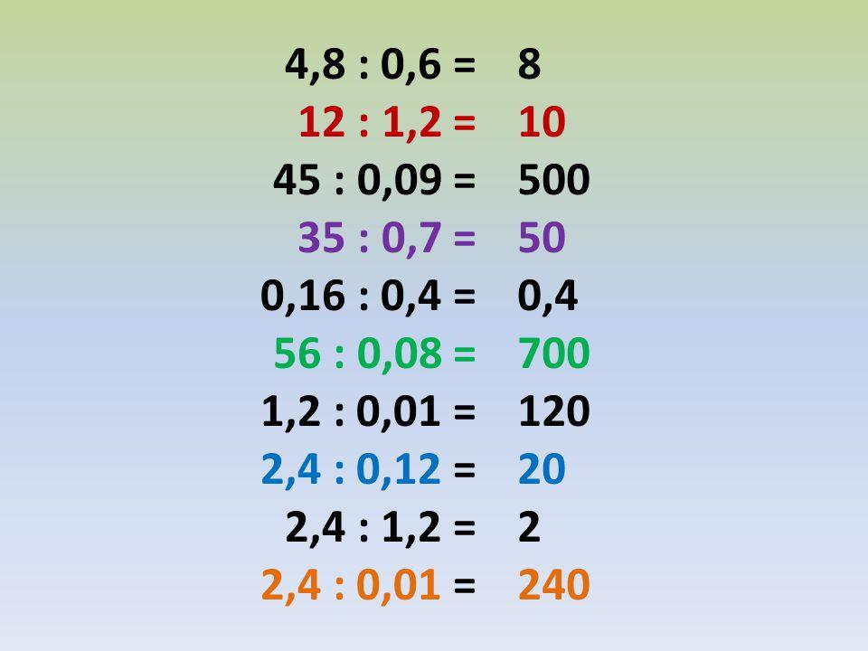 4,8 : 0,6 = 12 : 1,2 = 45 : 0,09 = 35 : 0,7 = 0,16 : 0,4 = 56 : 0,08 = 1,2 : 0,01 = 2,4 : 0,12 =