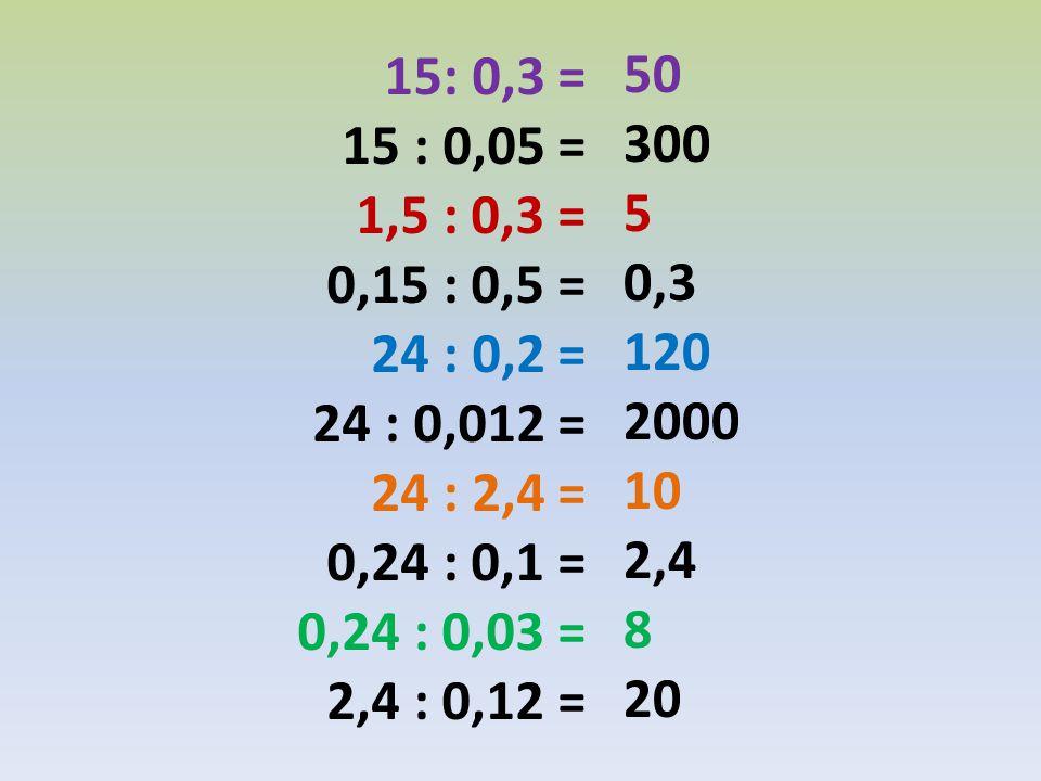 15: 0,3 = 15 : 0,05 = 1,5 : 0,3 = 0,15 : 0,5 = 24 : 0,2 = 24 : 0,012 = 24 : 2,4 = 0,24 : 0,1 =