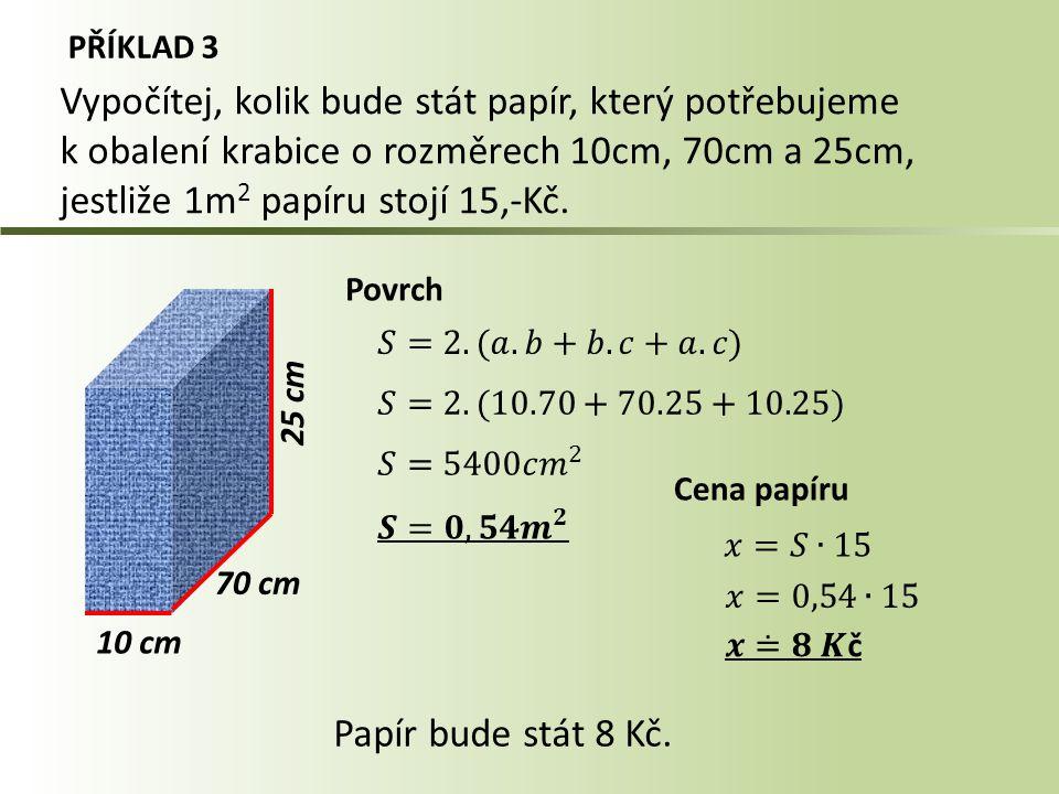 Vypočítej, kolik bude stát papír, který potřebujeme