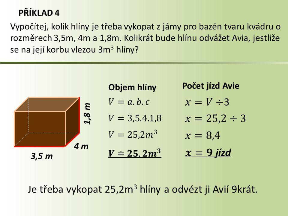 Je třeba vykopat 25,2m3 hlíny a odvézt ji Avií 9krát.