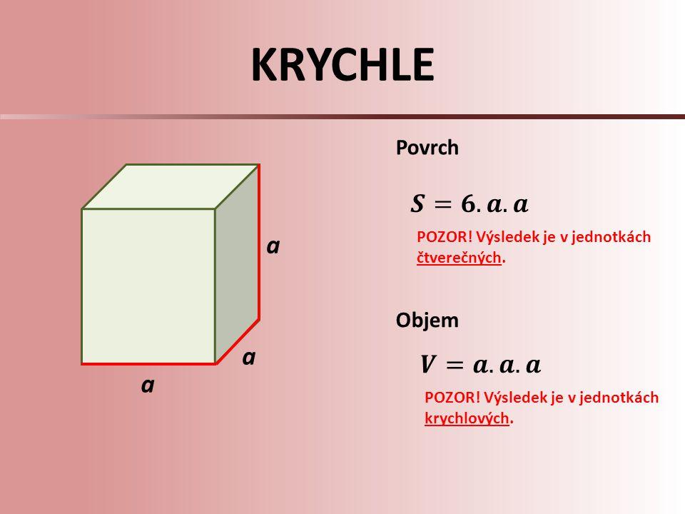 KRYCHLE 𝑺=𝟔.𝒂.𝒂 a a 𝑽=𝒂.𝒂.𝒂 a Povrch Objem