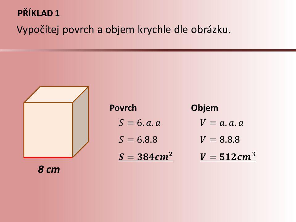 Vypočítej povrch a objem krychle dle obrázku.