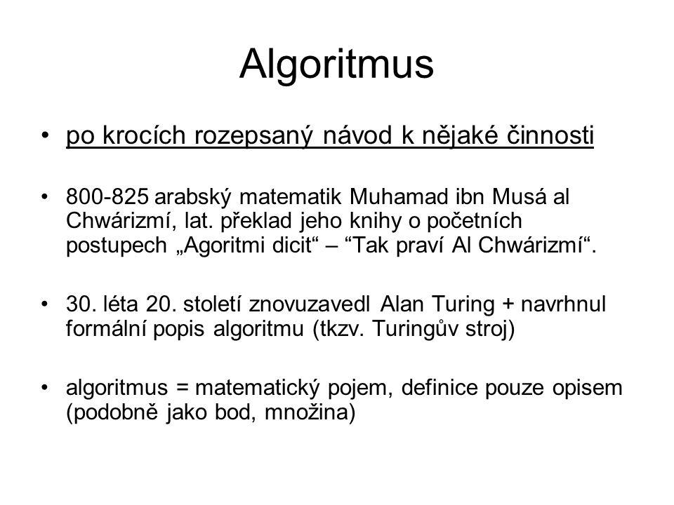 Algoritmus po krocích rozepsaný návod k nějaké činnosti