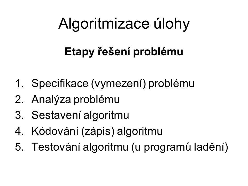 Algoritmizace úlohy Etapy řešení problému