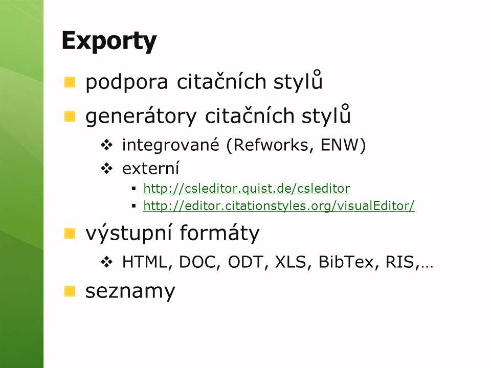 Exporty podpora citačních stylů generátory citačních stylů