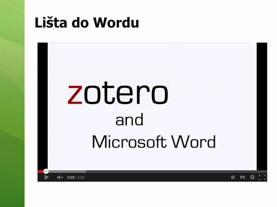 Lišta do Wordu