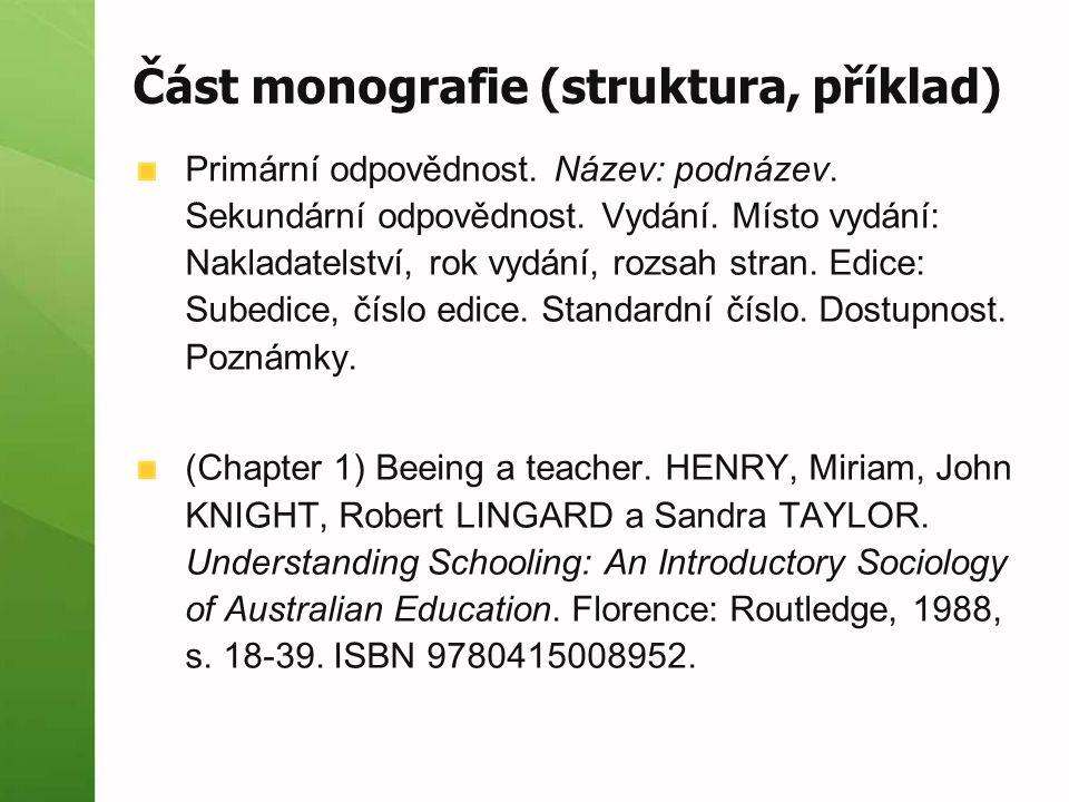 Část monografie (struktura, příklad)