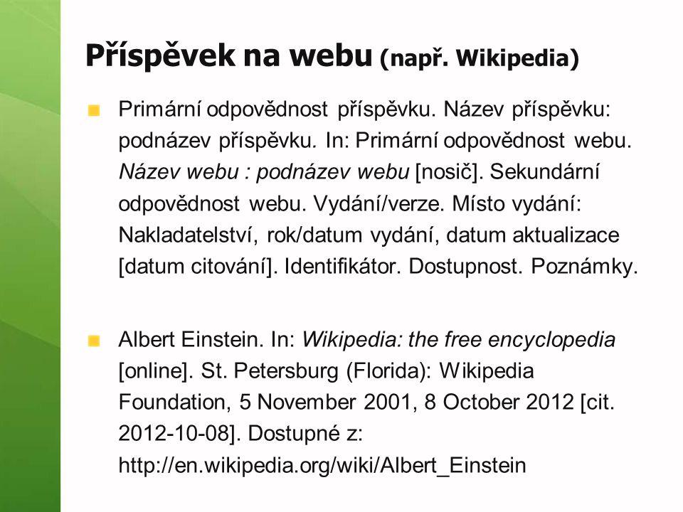 Příspěvek na webu (např. Wikipedia)