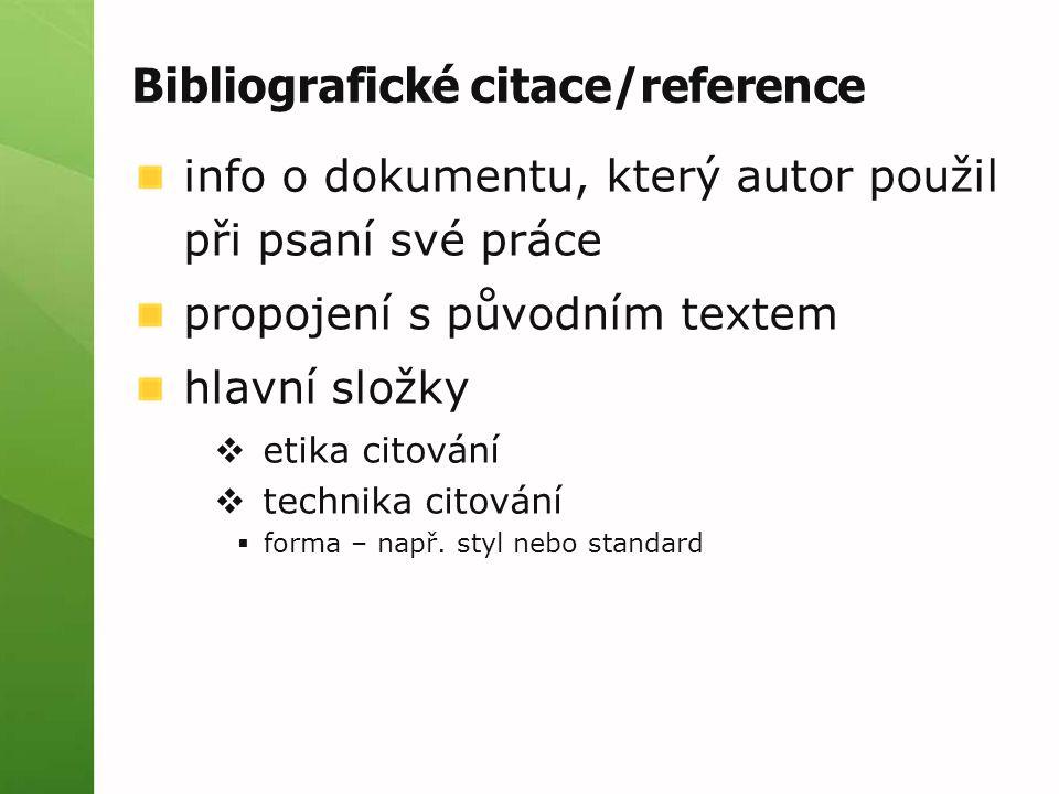 Bibliografické citace/reference