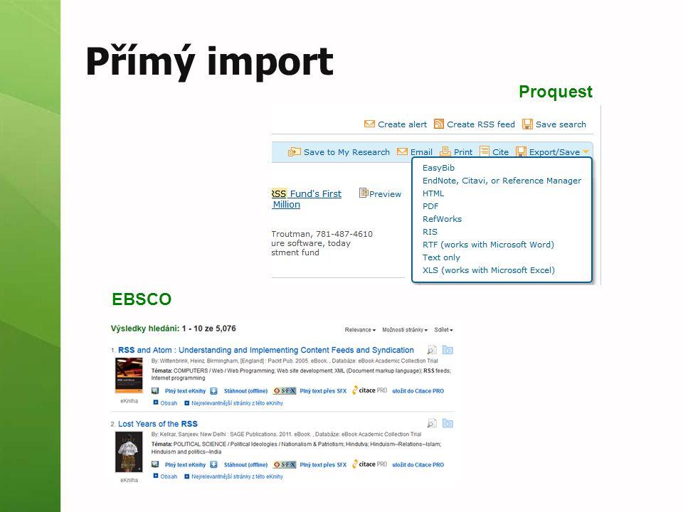 Přímý import Proquest EBSCO