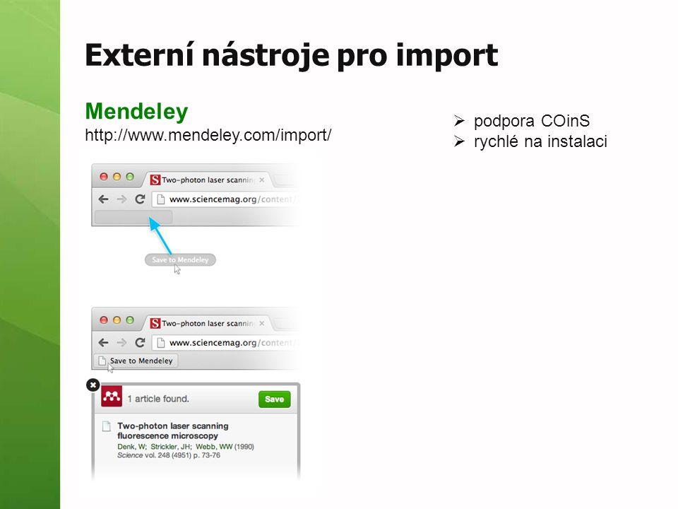 Externí nástroje pro import