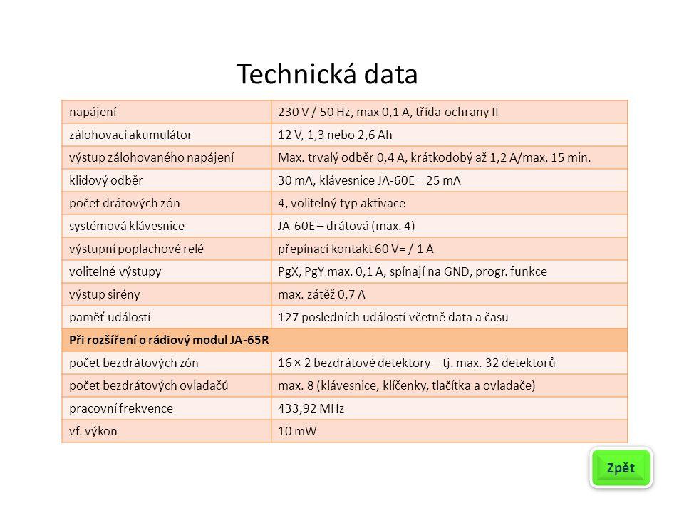 Technická data Zpět napájení