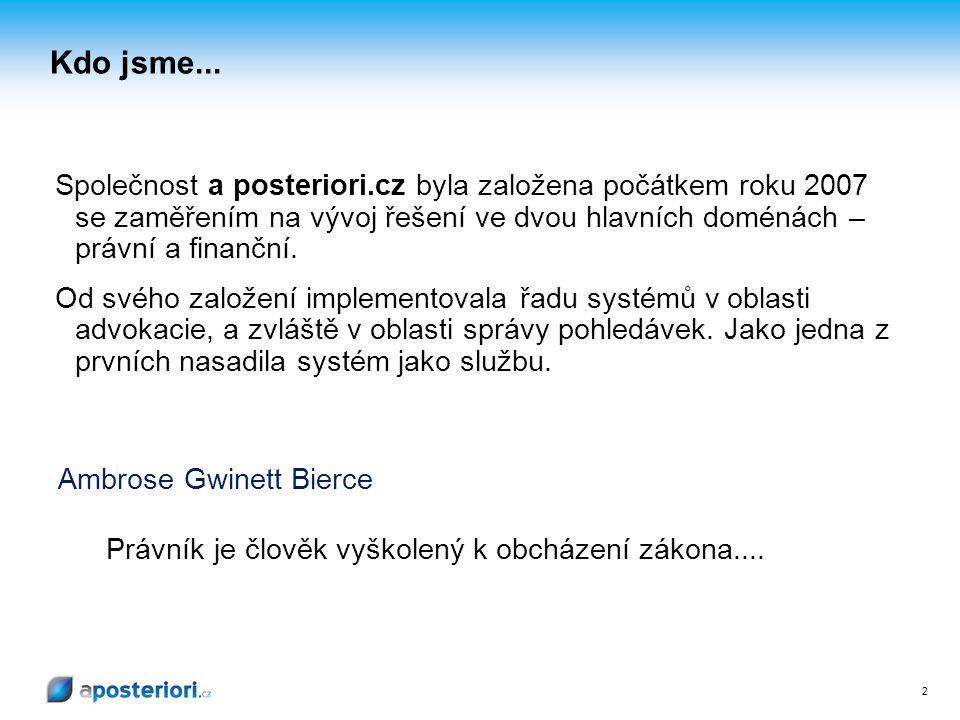 Kdo jsme... Společnost a posteriori.cz byla založena počátkem roku 2007 se zaměřením na vývoj řešení ve dvou hlavních doménách – právní a finanční.