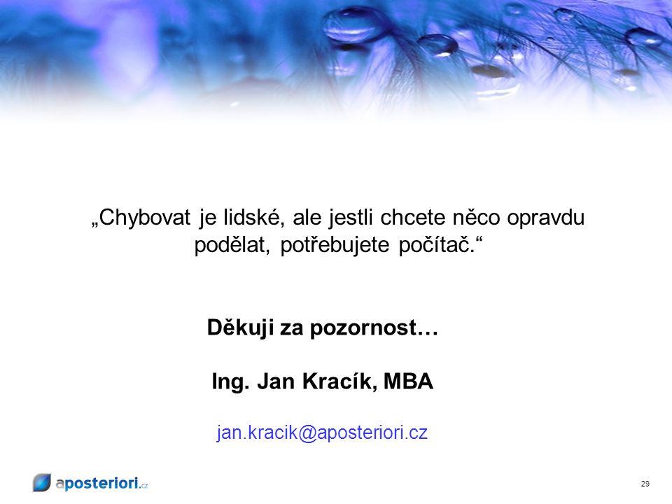 Děkuji za pozornost… Ing. Jan Kracík, MBA