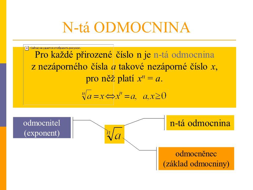 N-tá ODMOCNINA Pro každé přirozené číslo n je n-tá odmocnina z nezáporného čísla a takové nezáporné číslo x, pro něž platí xn = a.