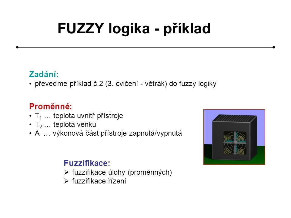 FUZZY logika - příklad Zadání: Proměnné: Fuzzifikace:
