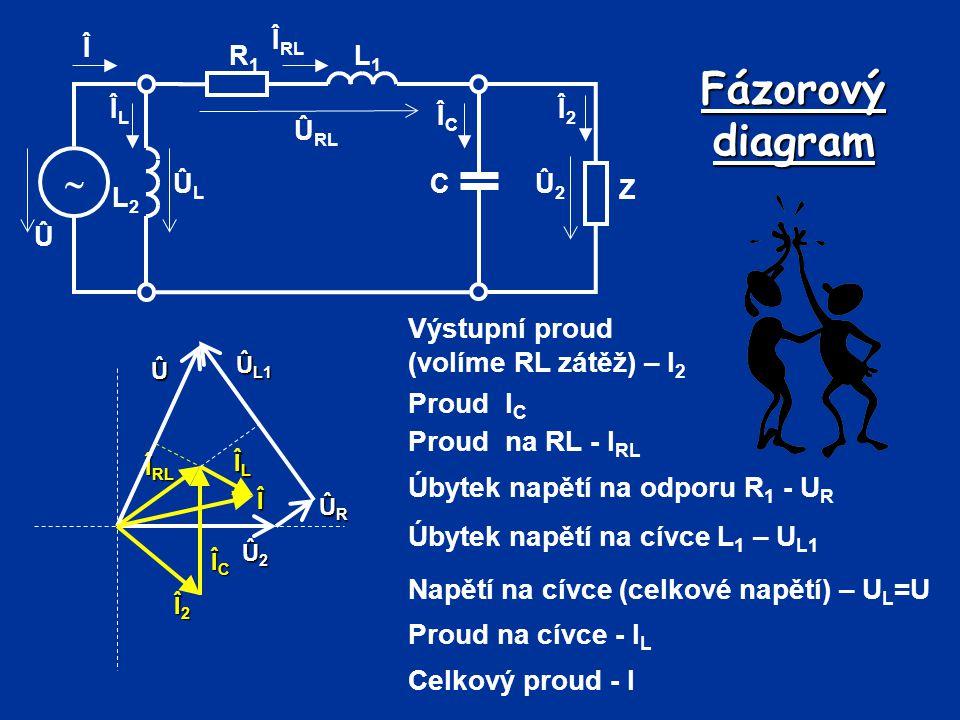 Fázorový diagram  Výstupní proud (volíme RL zátěž) – I2 Proud IC