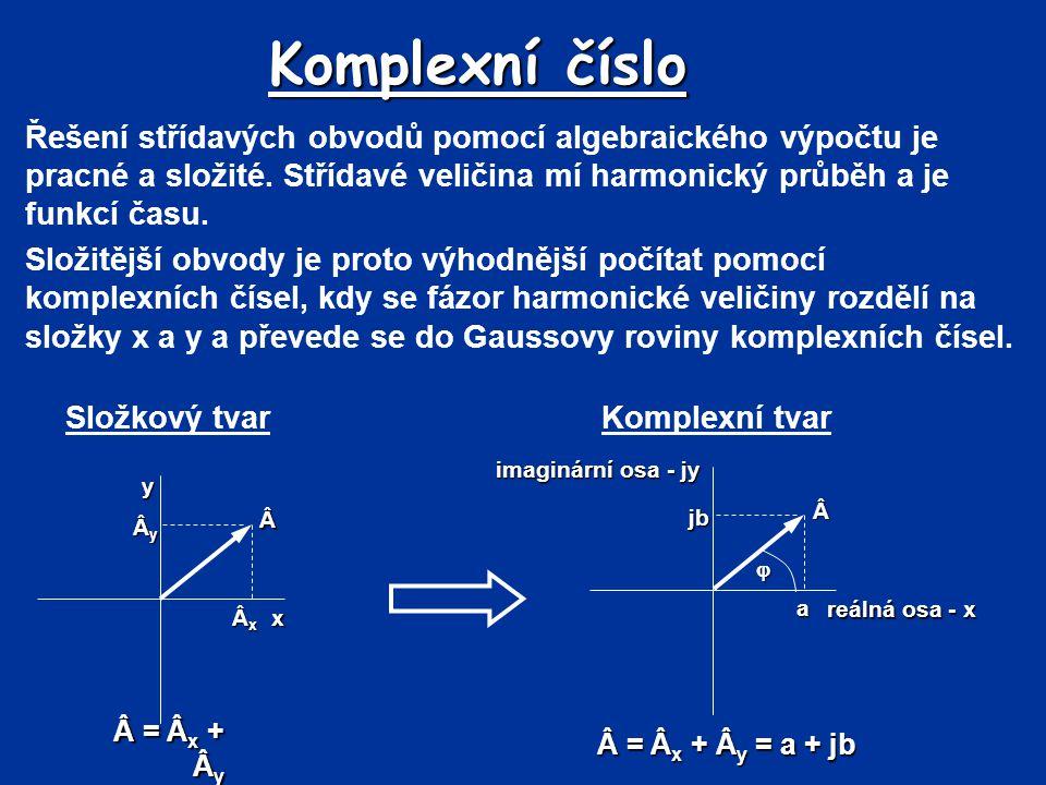 Komplexní číslo Řešení střídavých obvodů pomocí algebraického výpočtu je pracné a složité. Střídavé veličina mí harmonický průběh a je funkcí času.
