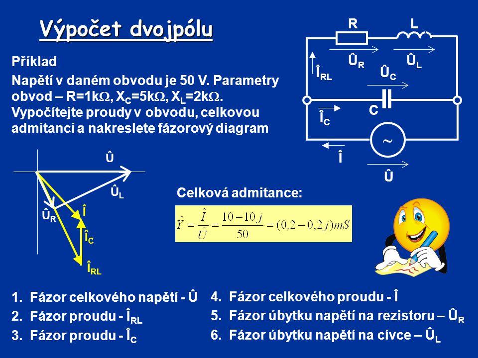 Výpočet dvojpólu  Û Î R C L ÛL ÛR ÛC ÎRL ÎC Příklad
