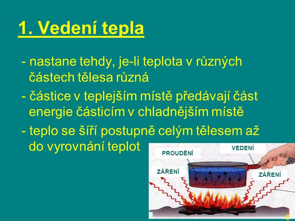1. Vedení tepla - nastane tehdy, je-li teplota v různých částech tělesa různá.