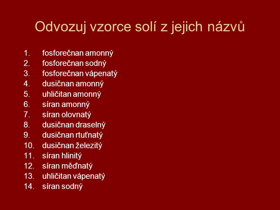 Odvozuj vzorce solí z jejich názvů