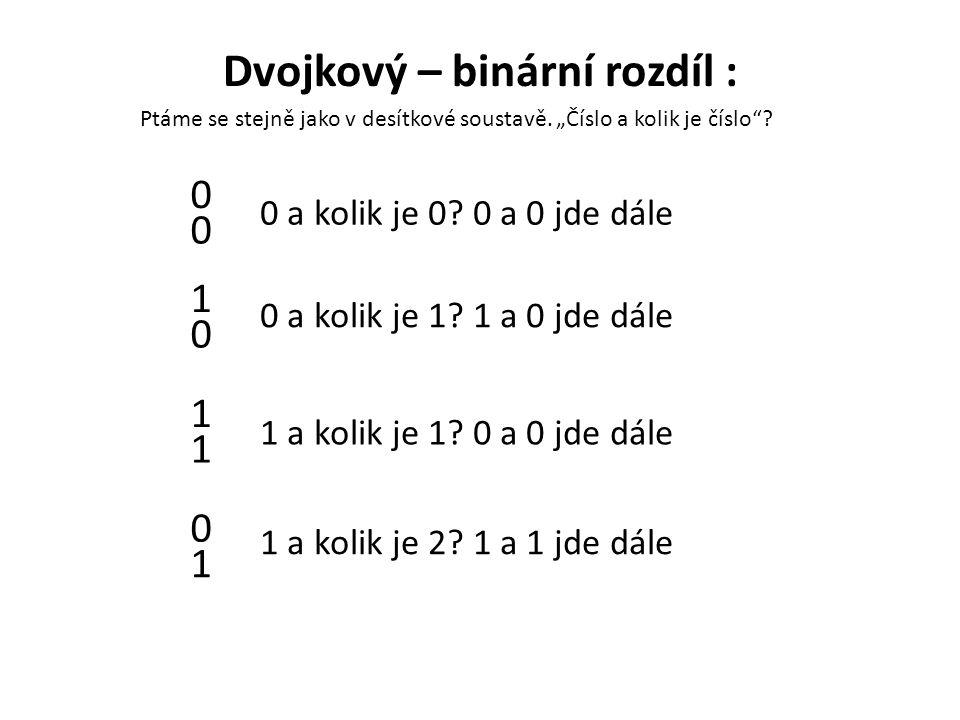 Dvojkový – binární rozdíl :