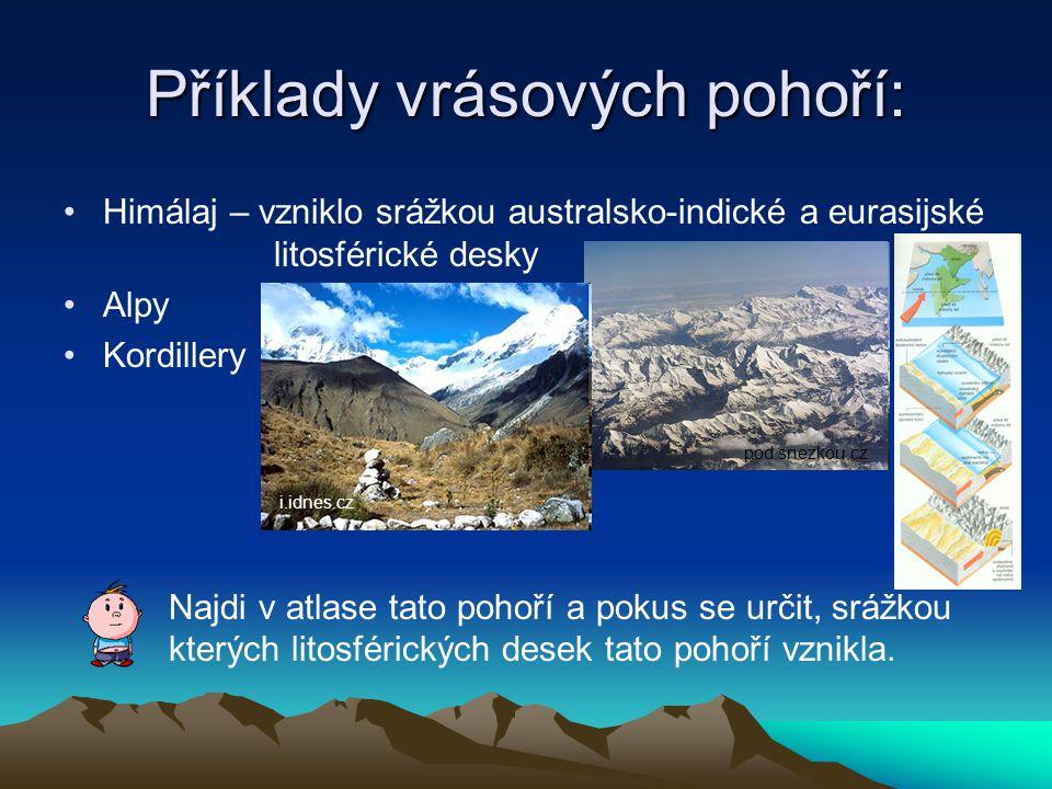 Příklady vrásových pohoří: