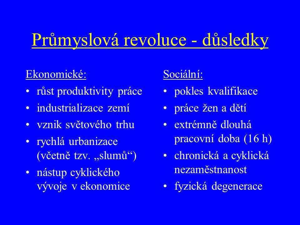 Průmyslová revoluce - důsledky