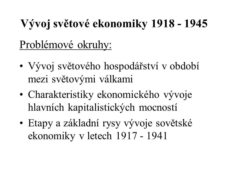Vývoj světové ekonomiky 1918 - 1945