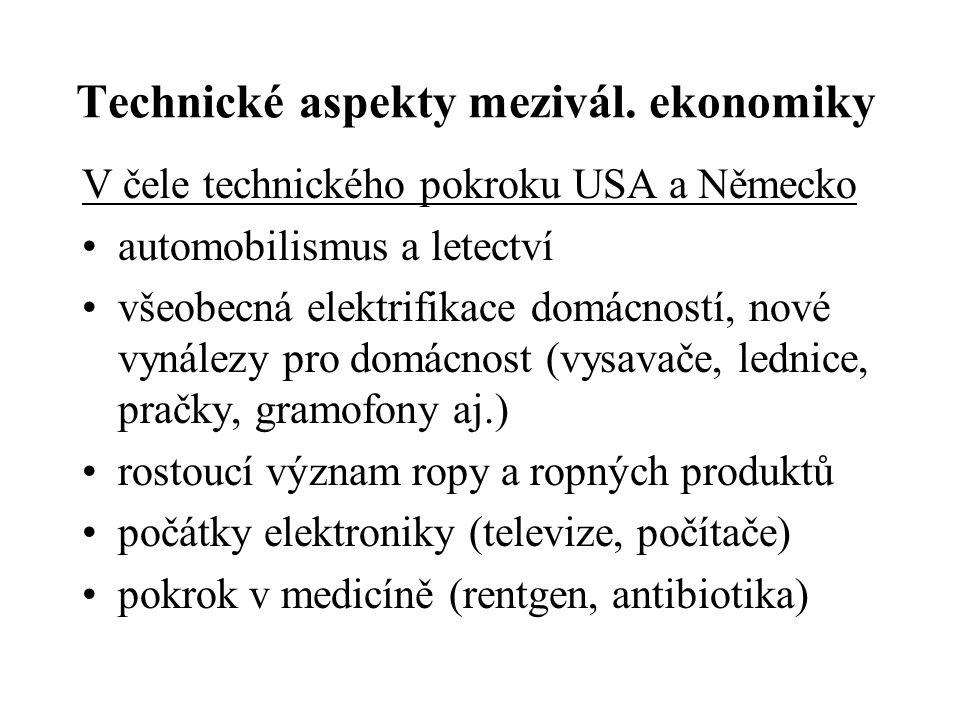 Technické aspekty mezivál. ekonomiky