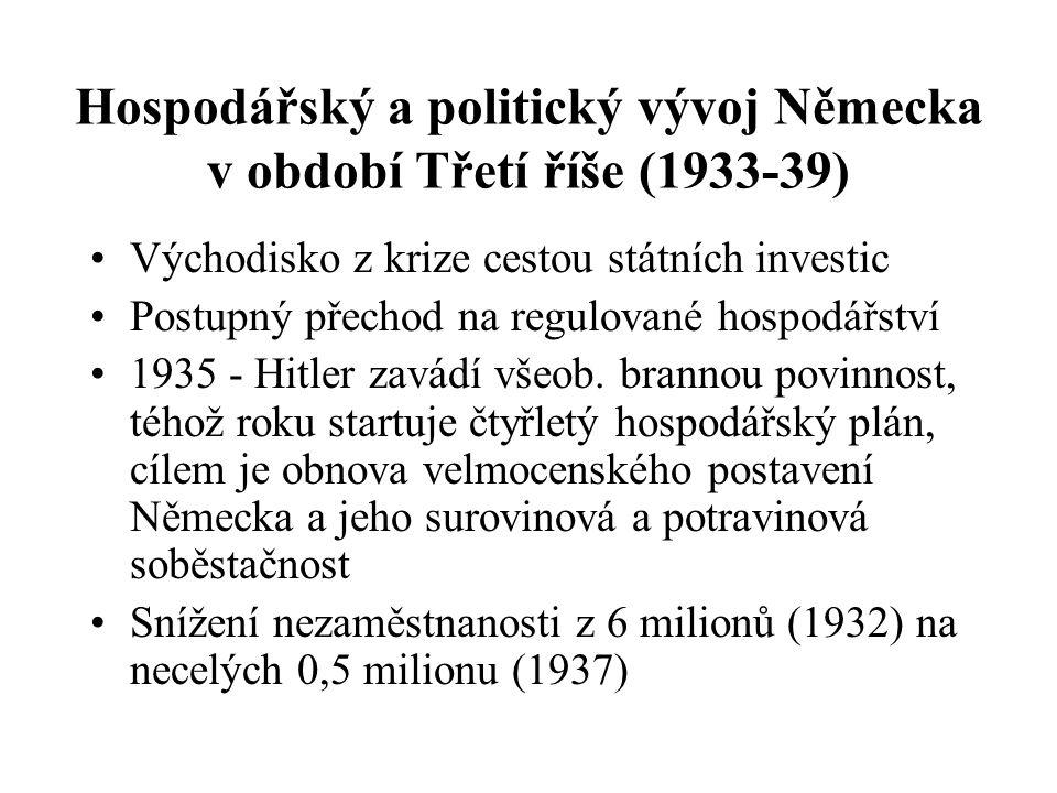 Hospodářský a politický vývoj Německa v období Třetí říše (1933-39)