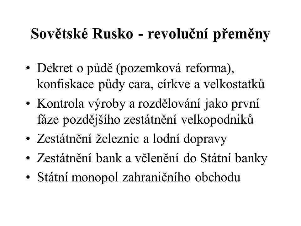 Sovětské Rusko - revoluční přeměny