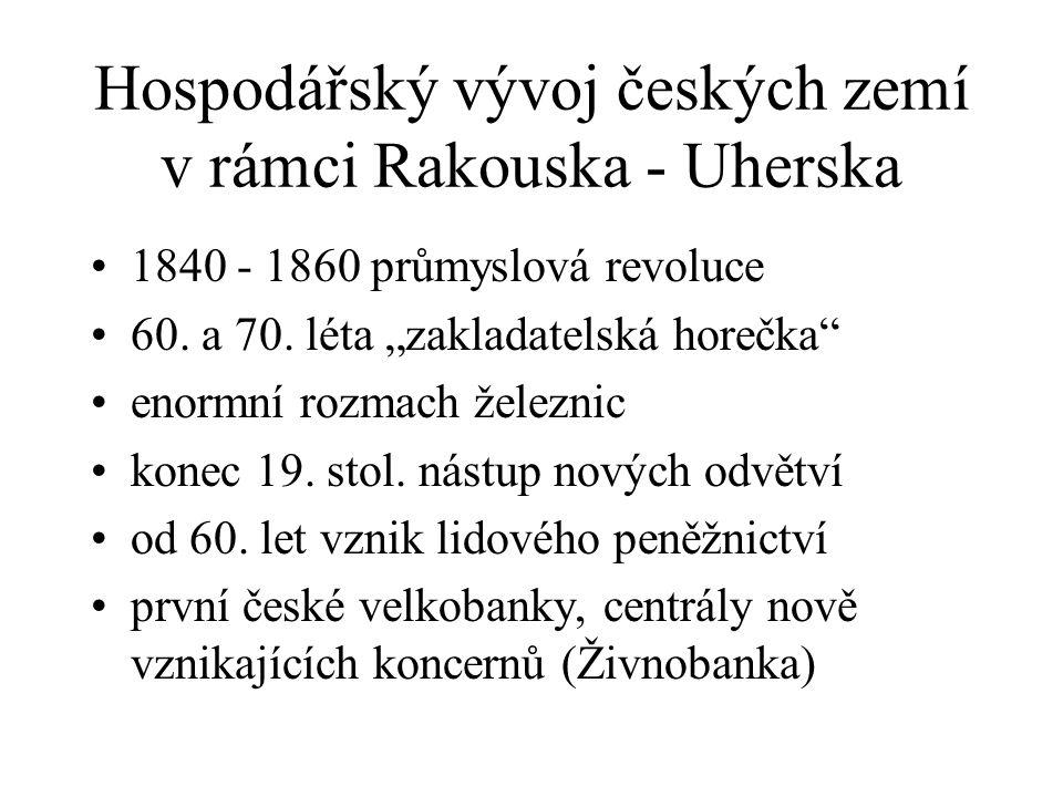 Hospodářský vývoj českých zemí v rámci Rakouska - Uherska